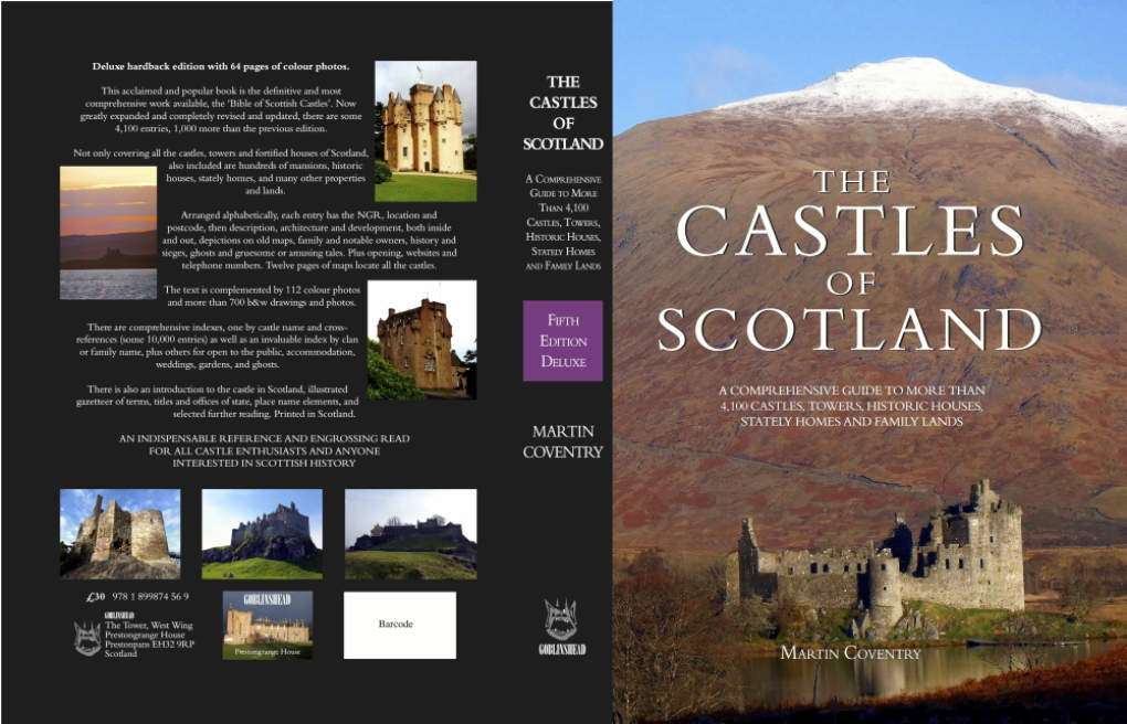 View of the cover of the hardback edition of The Castles of Scotland by Martin Coventry and published by Goblinshead with Kilchurn Castle on the front cover