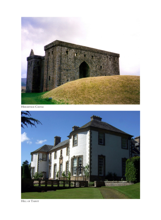 Coulour photos of Hermitage Castle and Hill of Tarvit from the 64 page colour section of The Castles of Scotland by Martin Coventry, published by Goblinshead