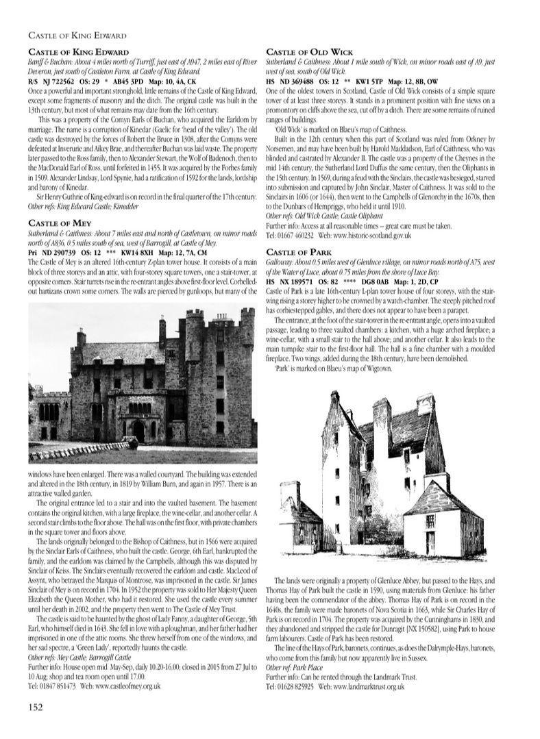 Page from The Castles of Scotland by Martin Coventry and published by Goblinshead, a major new book on 4,100 castles, towers, stately homes, historic houses and family lands in Scotland owned by Scottish families