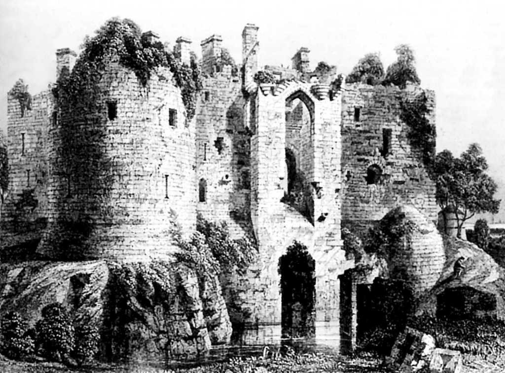 An old view of Dirleton Castle, a magnificent medieval ruined castle, near North Berwick in East Lothian