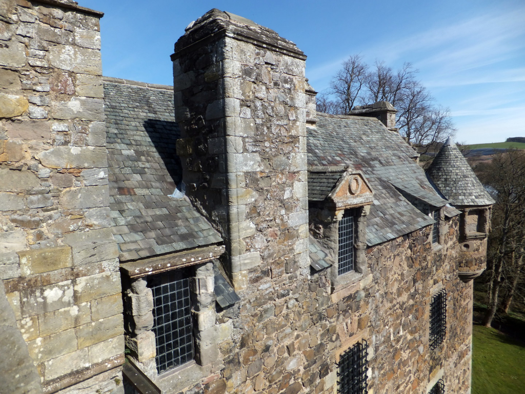 View from the parapet of Elcho Castle, a well-preserved large castle in a pretty spot, the hall is a particularly fine chamber, long held by the Wemyss family, near Bridge of Earn and Perth.