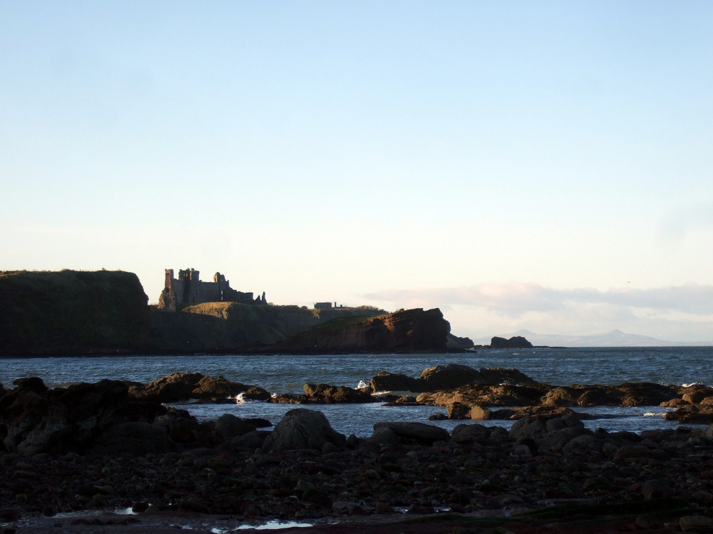 View from Seacliff of Tantallon Castle, a spectacular ruinous castle of the Douglas Earls of Angus, located in a pretty cliff top location near the East Lothian seaside town of North Berwick.