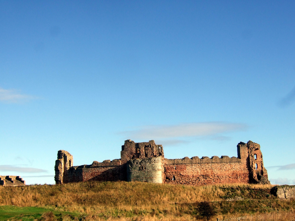 Tantallon Castle, a spectacular ruinous castle of the Douglas Earls of Angus, located in a pretty cliff top location near the East Lothian seaside town of North Berwick.