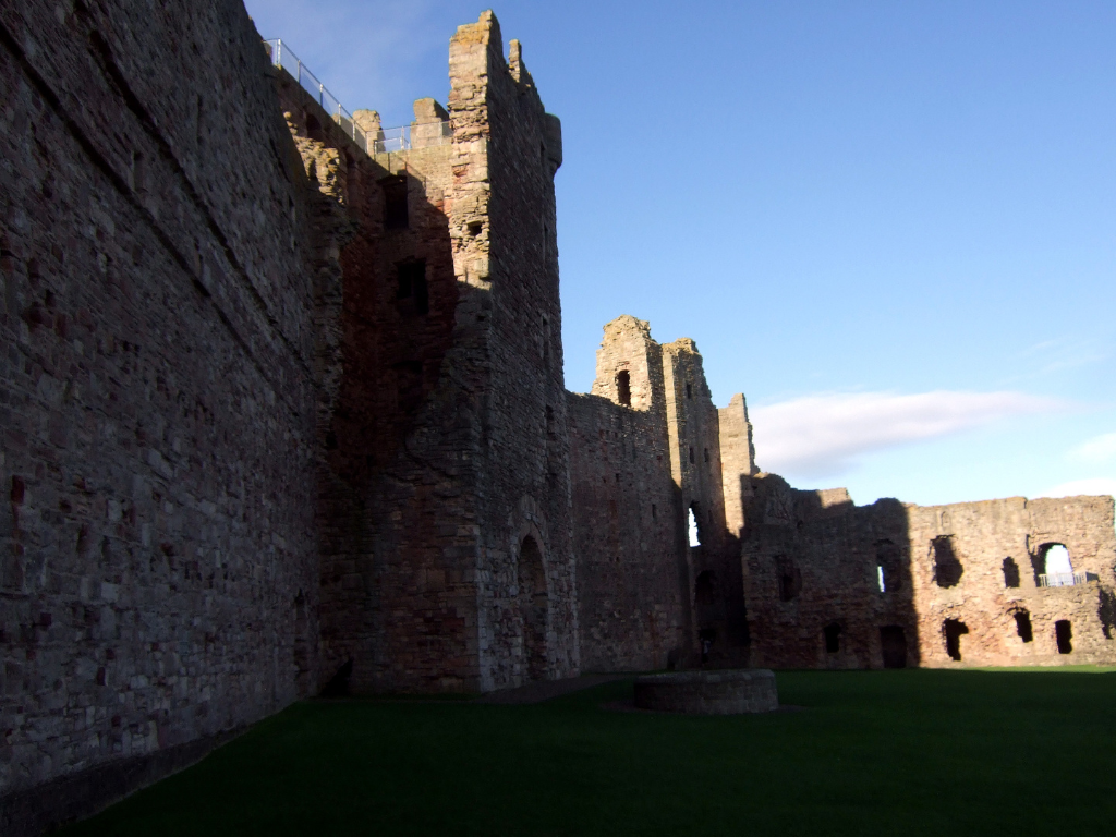 View of the courtyard of Tantallon Castle, a spectacular ruinous castle of the Douglas Earls of Angus, located in a pretty cliff top location near the East Lothian seaside town of North Berwick.