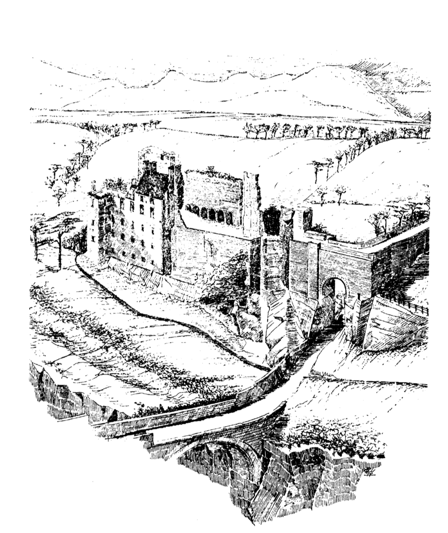 Drawing of Roslin Castle, an impressive, partly ruinous old stronghold on a rock above the River Esk, long held by the Sinlcairs and near the beautiful and intricately carved Rosslyn Chapel