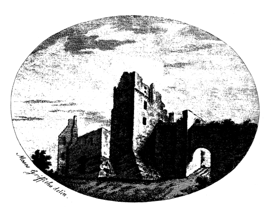 Etching of Roslin Castle, an impressive, partly ruinous old stronghold on a rock above the River Esk, long held by the Sinlcairs and near the beautiful and intricately carved Rosslyn Chapel