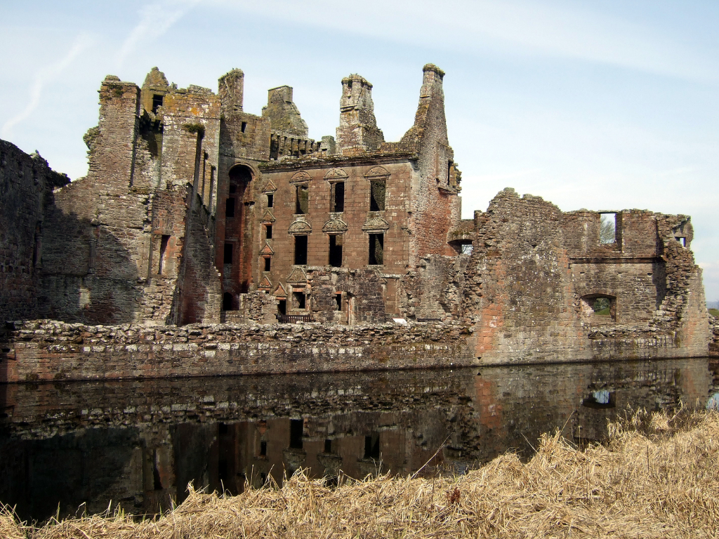 Nithsdale Lodging of  Caerlaverock Castle, an impressive and romantic old ruinous castle of the Maxwell family, near Dumfries.