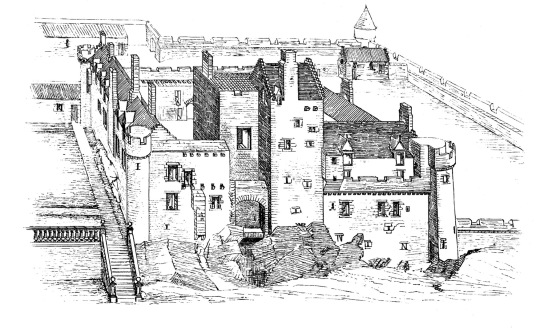 Reconstruction drawing of Craigmillar Castle, a grand but ruinous castle with a large tower and two courtyards, held by the Prestons and the Gilmours, and associated with Mary Queen of Scots, in the Craigmillar area of Edinburgh.