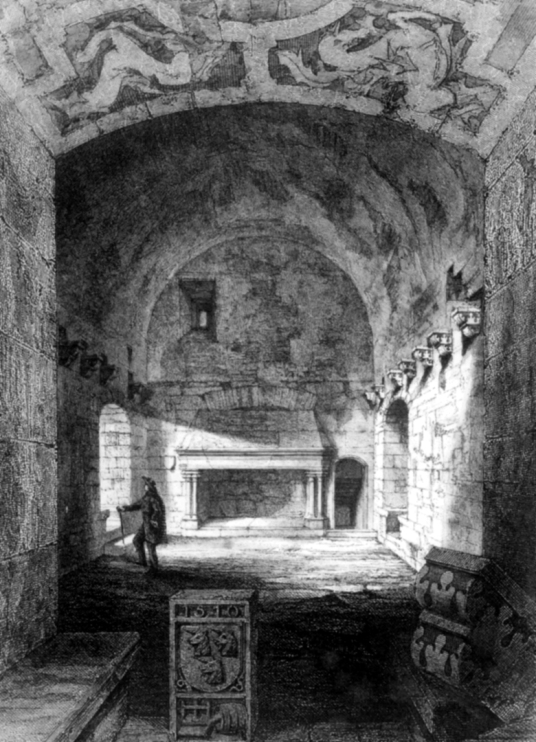Formerly painted hall of Craigmillar Castle, a grand but ruinous castle with a large tower and two courtyards, held by the Prestons and the Gilmours, and associated with Mary Queen of Scots, in the Craigmillar area of Edinburgh.