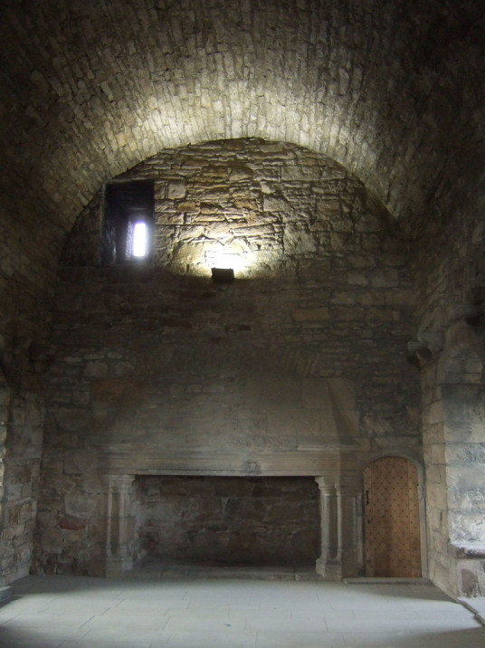 Hall of Craigmillar Castle, a grand but ruinous castle with a large tower and two courtyards, held by the Prestons and the Gilmours, and associated with Mary Queen of Scots, in the Craigmillar area of Edinburgh.
