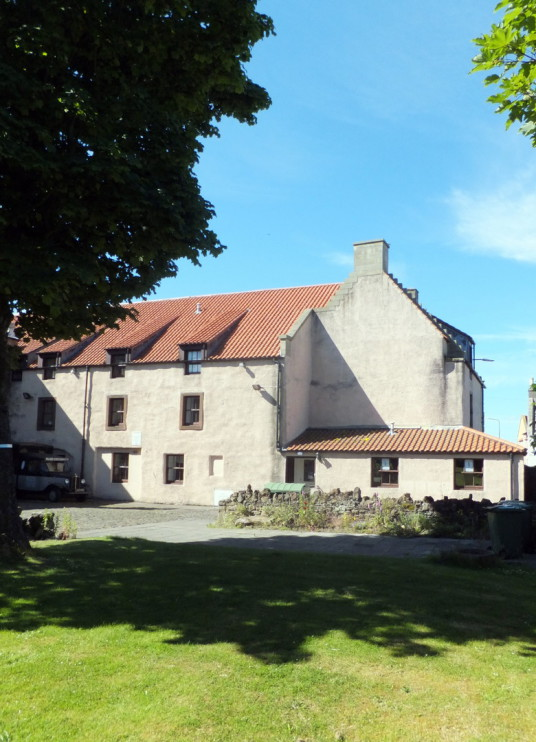 Hanseatic Barn or Great Custom, Cockenzie House, a long plain mansion with some old interiors, dating from the 17th century, in beautiful gardens in the pleasant town of Cockenzie and Port Seton on the banks of the Firth of Forth, near Preston