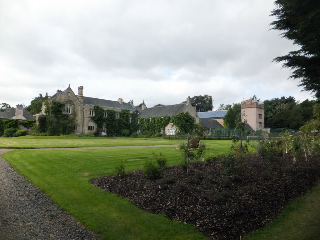 Monteviot House and Gardens, a large low house of the Kerr Earls of Lothian set in many acres of lovely gardens by the River Teviot. near Jedburgh in the Borders.