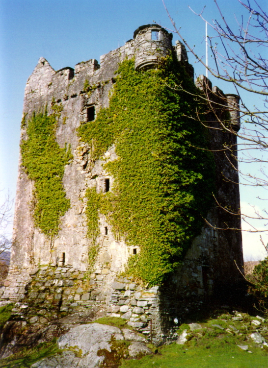 Moy Castle is a stark old ruinous tower in a fantastic scenic location by the sea, long a property of the MacLaines, at Lochbuie, on the south coast of the Hebridean island of Mull.