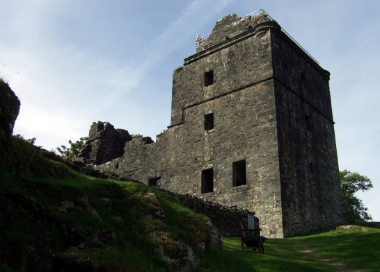 Carnasserie Castle, an imposing and atmospheric old ruinous castle and hall house above the road, near Kilmartin in Argyll on the west coast of Scotland.