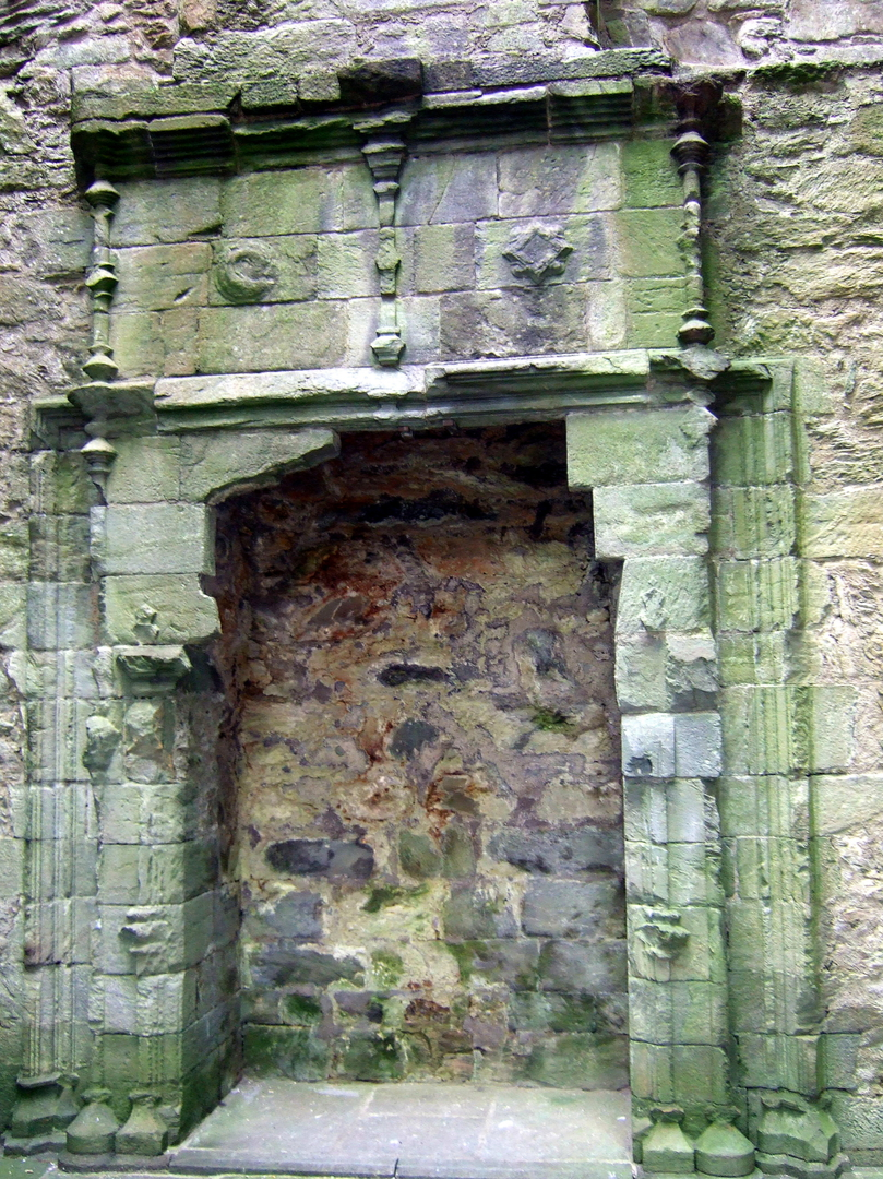 Fireplace, Carnasserie Castle, an imposing and atmospheric old ruinous castle and hall house above the road, built by John Carswell, Bishop of the Isles, and later held by the Campbells, near Kilmartin in Argyll on the west coast of Scotland.
