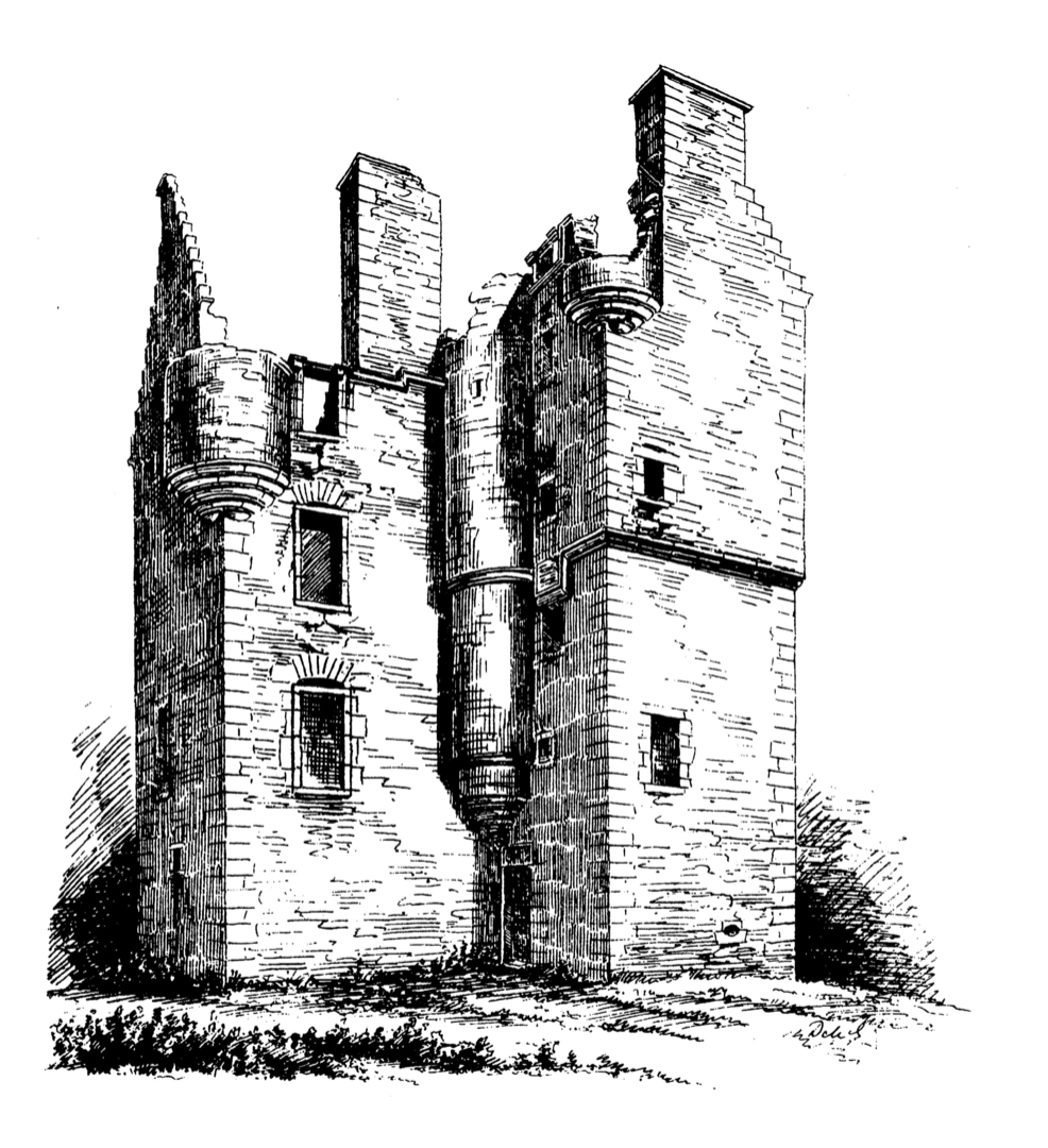 Greenknowe Tower, a ruinous but an attractive old tower house, held by the Setons and then the Pringles, located in a pretty spot with old trees near the village of Gordon in the Borders.