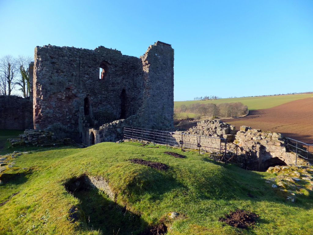 Hailes Castle is a picturesque and substantial ruinous old fortress, perched on a rocky crag above the River Tyne near East Linton in East Lothian, long held by the Hepburn family and associated with Mary Queen of Scots.