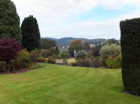 Kailzie Gardens features acres of colourful gardens and woodland, around the site of an old castle and then Kailzie House in a lovely spot, near Peebles in the Borders in southern Scotland.