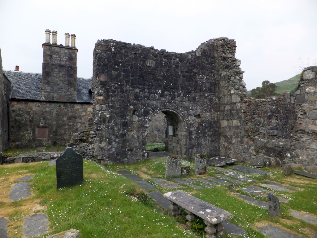 Ardchattan Priory is an interesting ruinous old building by the mansion of Ardchattan House, long held by the Campbells, and featuring the pretty Ardchattan Gardens, standing by the shore of Loch Etive near Connel in Argyll in western Scotland.