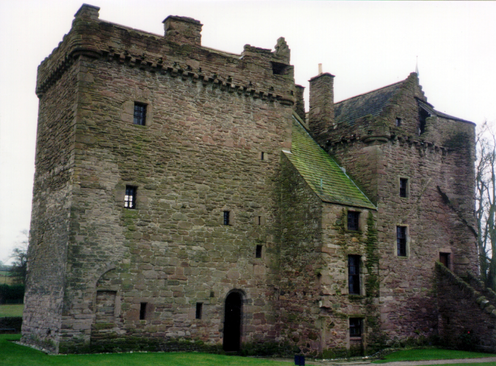 Huntingtower Castle is a handsome and atmospheric old castle and mansion near Perth in central Scotland, once home to the Ruthven Earls of Gowrie, but the earl and his brother were slain by James VI and the castle and earldom seized, eventually going to t