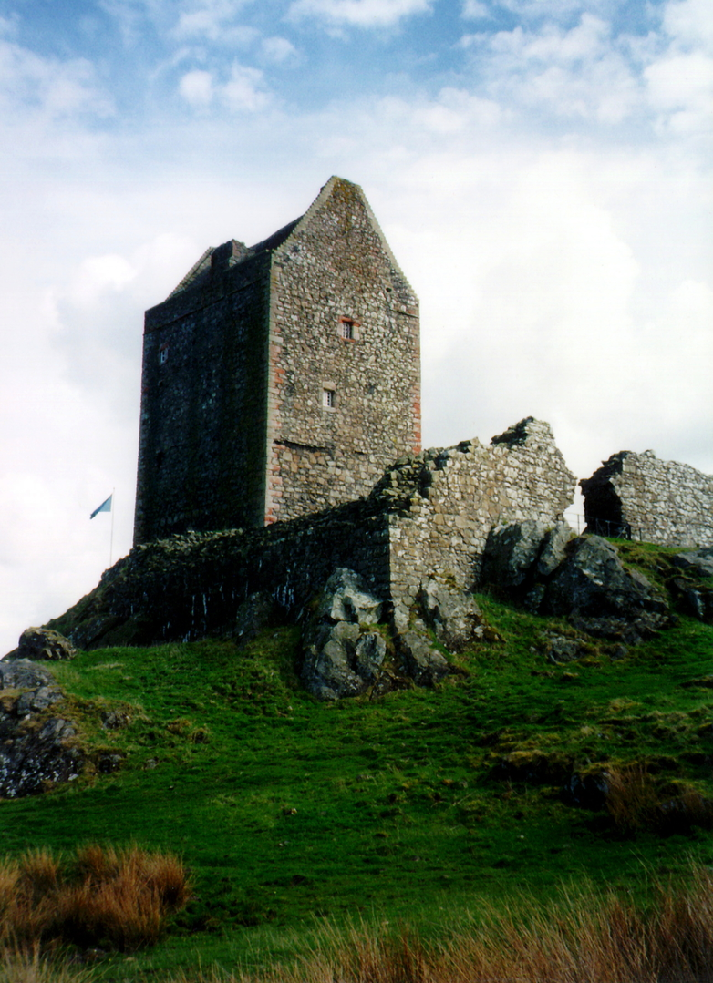 Smailholm Tower, an atmospheric and stark old tower house in a windswept rocky position, long held by the Pringles and near Kelso in the Borders.