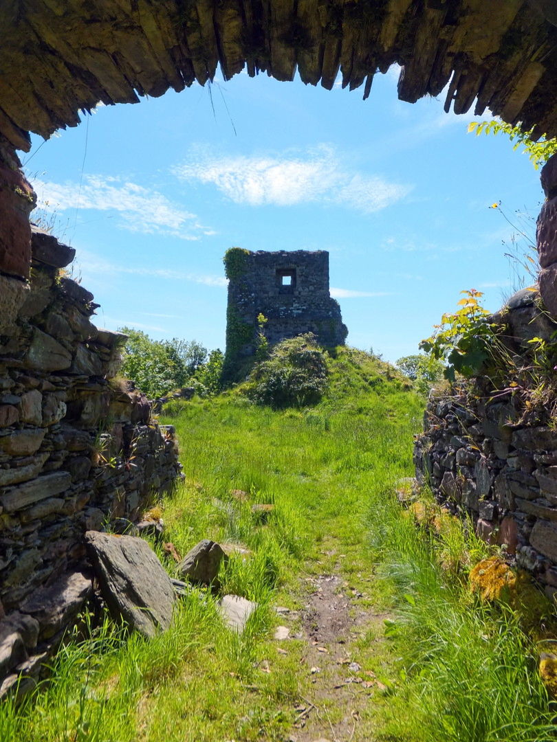 Entrance, Toward Castle, a scenic and atmospheric ruinous old stronghold of the Lamont family, which was seized by the Campbells with much slaughter in 1646, near Dunoon on Cowal in Argyll.