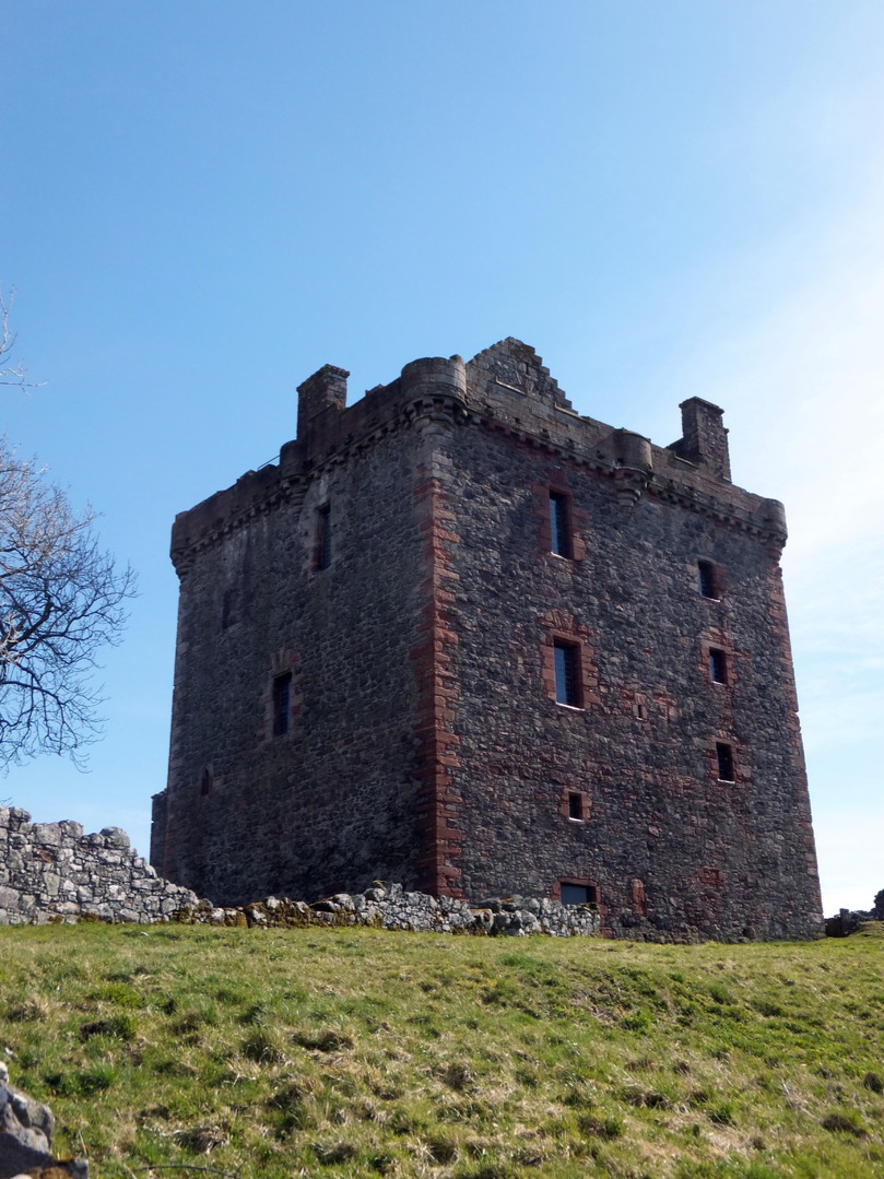 Balvaird Castle, a large and impressive old tower house with ruinous outbuildings of the Murrays, in a very imposing and beautiful position in Glen Farg, some miles from Bridge of Earn in Perthshire.