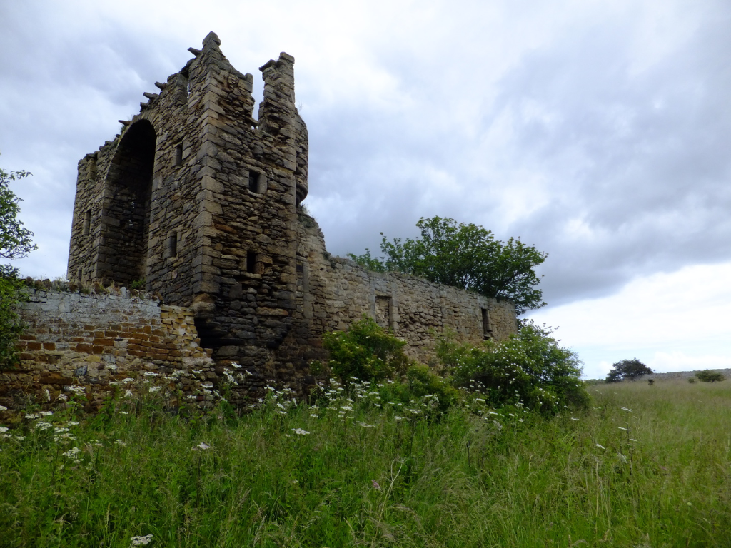 Saltcoats Castle, a scenic, ruinous and overgrown old castle of the Livingstone family, near the pretty village of Gullane in East Lothian.
