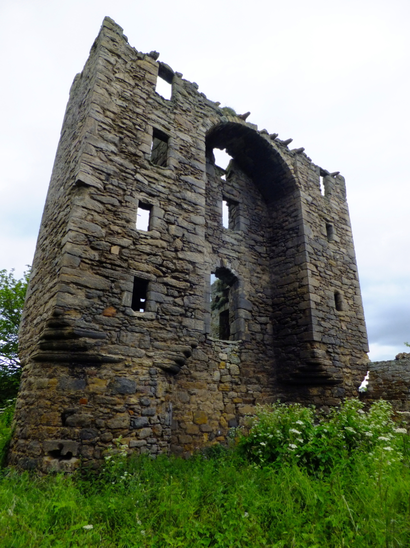 View of Saltcoats Castle, a scenic, ruinous and overgrown old castle of the Livingstone family, near the pretty village of Gullane in East Lothian.