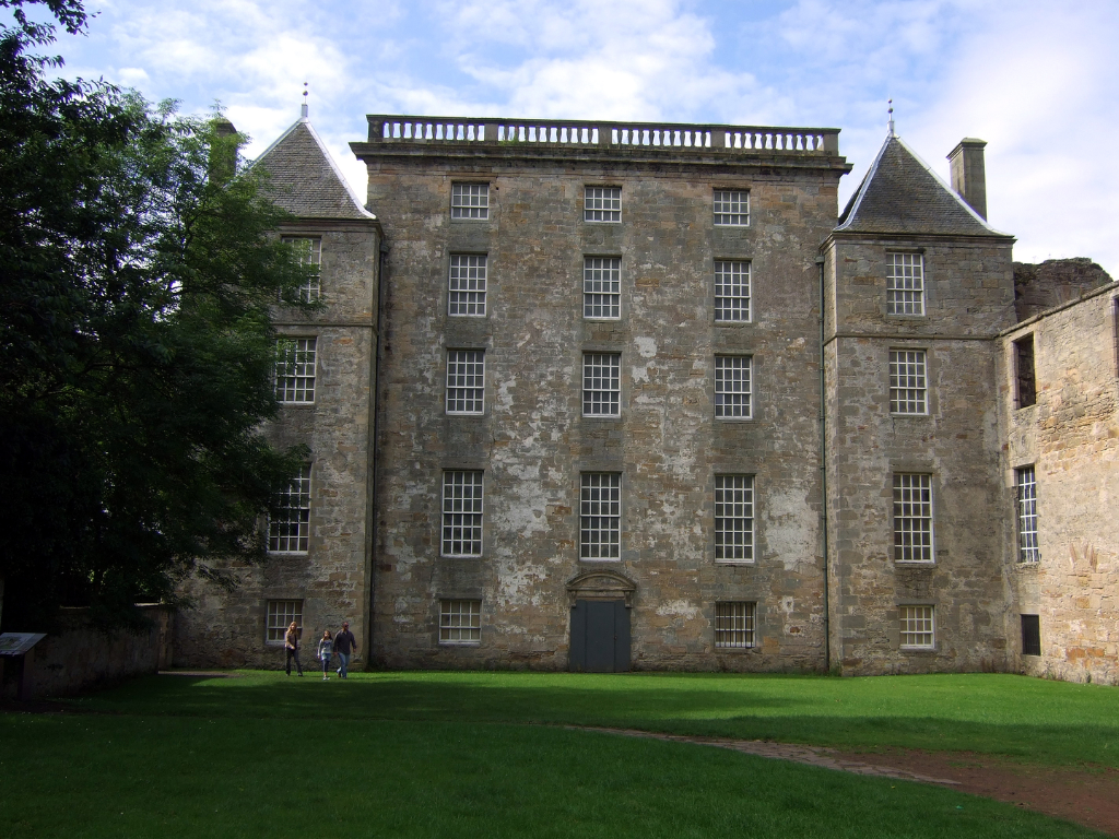 Kinneil House is the gutted shell of a large castle and mansion but with some exceptional original painted rooms, held by the Dukes of Hamilton and located in a park at Bo'ness in West Lothian in central Scotland.