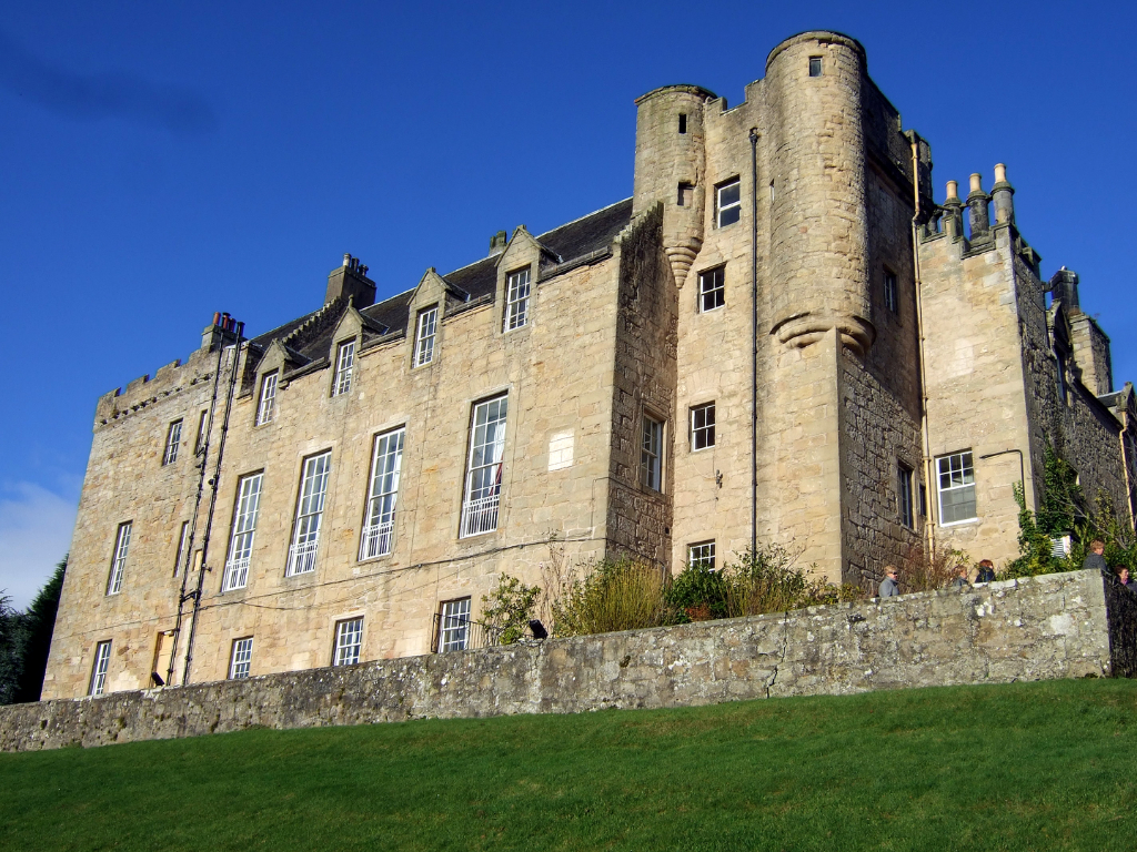 Airth Castle, a grand old stronghold and later mansion, owned successively by the Bruces, Elphinstones and Grahams and now a hotel, in a pretty spot near Falkirk in central Scotland.
