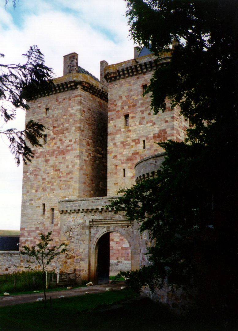 Borthwick Castle, a lofty and magnificent tower house in a quiet scenic location, built in the 15th century by the Borthwick family and now an exclusive hotel, located near Gorebridge in Midlothian in central Scotland.