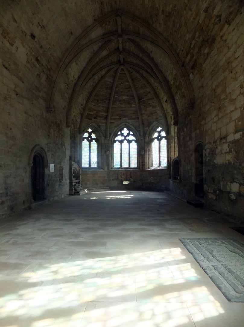Interior of Seton Collegiate Church, Seton Castle, a large and impressive Adam mansion near the atmospheric Seton Collegiate Church built by the Seton family, near Tranent and Cockenzie and Port Seton in East Lothian.