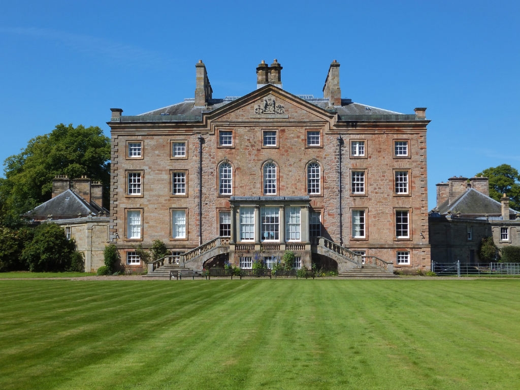 Arniston House, a fabulous classical mansion with a homely period interior in landscaped grounds near Gorebridge in Midlothian in central Scotland and long held by the Dundas family.