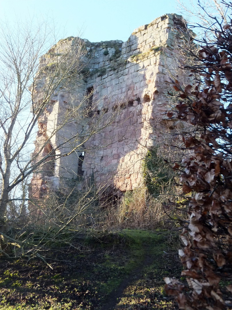 Main tower or keep of Roslin Castle, an impressive, partly ruinous old stronghold on a rock above the River Esk, long held by the Sinlcairs and near the beautiful and intricately carved Rosslyn Chapel