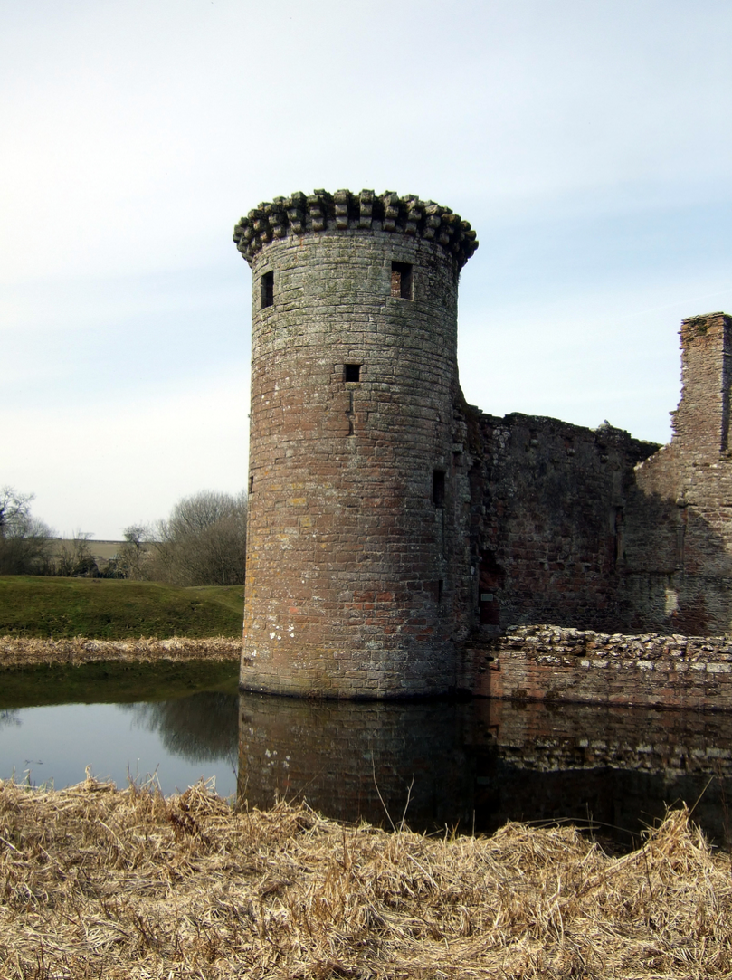 Murdoch's Tower of Caerlaverock Castle, an impressive and romantic old ruinous castle of the Maxwell family, near Dumfries.