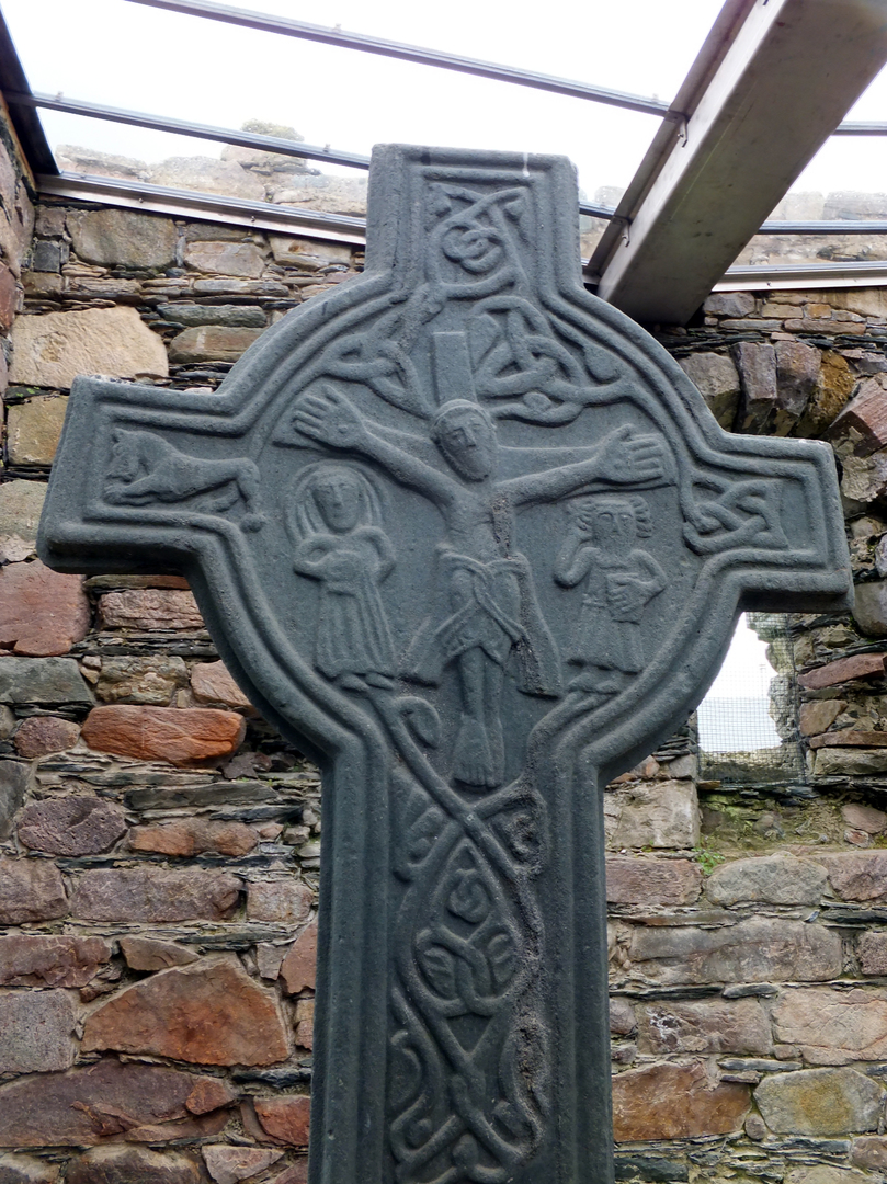 Carved cross, Kilmory Knap Chapel, near Castles Sween is an interesting old ruinous stronghold in a pretty spot, in a peaceful spot on the banks of Loch Sween, near Tayvallich in Argyll in western Scotland.