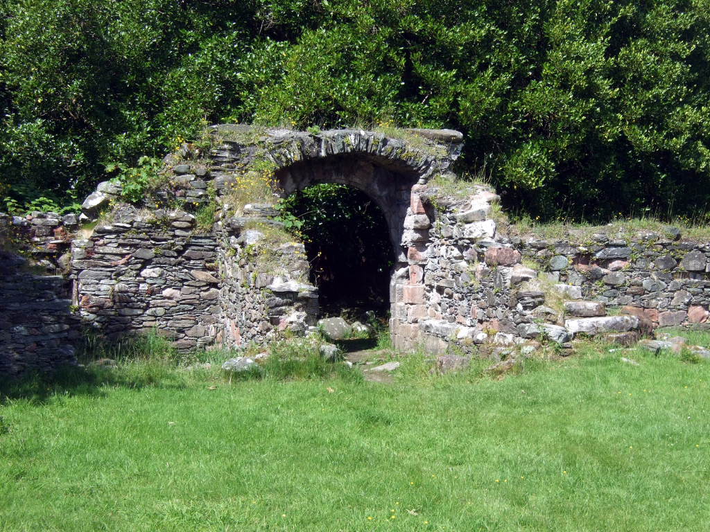 Entrance to courtyard, Toward Castle, a scenic and atmospheric ruinous old stronghold of the Lamont family, which was seized by the Campbells with much slaughter in 1646, near Dunoon on Cowal in Argyll.
