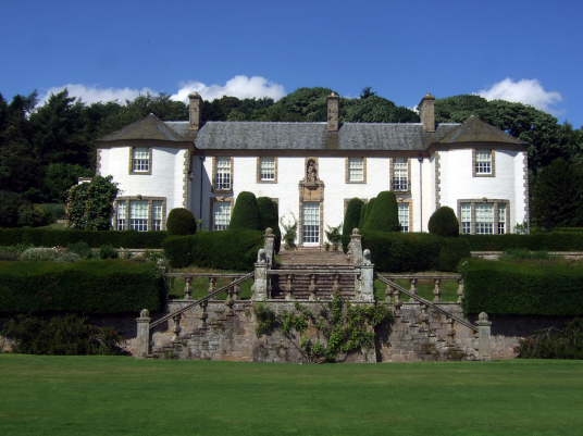Hill of Tarvit, a fine mansion house with a fantastic homely Edwardian interior in beautiful landscaped gardens and grounds with superb views, rebuilt for the Sharps to house their art collections and some miles from Cupar in Fife in central Scotland.