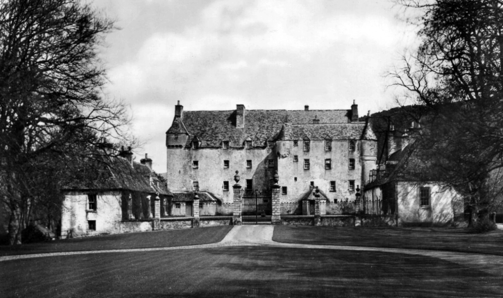 View of Traquair House, a fabulous homely old castle and house, long a property of the Stewarts and associated with Mary, Queen of Scots, in lovely grounds near Innerleithen in the Borders of Scotland.
