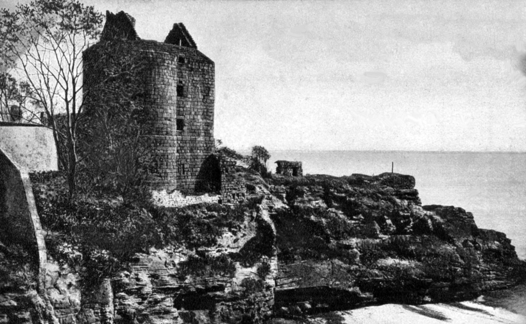 Ravenscraig Castle is a dark and brooding ruinous artillery castle in a public park, associated with James II and then held by the Sinclairs, near Dysart and Kirkcaldy in Fife in central Scotland.
