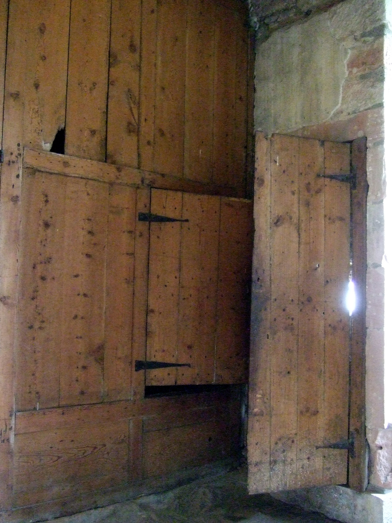 Old wood panelling, Newark Castle, a substantial and fascinating old tower house with many rooms to explore and some original internal features, long held by the turbulent Maxwells, and standing by the banks of the River Clyde near Port Glasgow in Renfrew