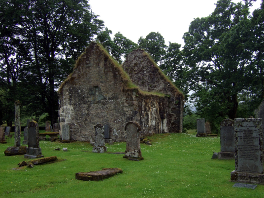 Kilmorie chapel and graveyard, near Castle Lachlan, an unusual and impressive old ruinous stronghold of the MacLachlans in a beautiful spot on the banks of Loch Fyne, near the new Castle Lachlan and an old chapel, south of Strachur on Cowal in Argyll on t
