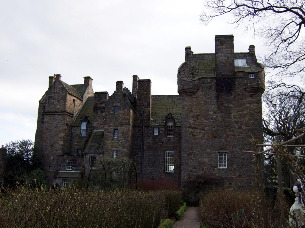 Kellie Castle is a large and an attractive old tower house, once held by the Oliphants and then the Erskine Earls of Kellie, set in a beautiful spot with a stunning gardens, near Elie in Fife in central Scotland.