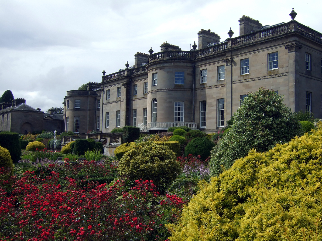 Manderston House, a fabulous classical mansion with its famous sliver staircase, located in lovely gardens and landscaped grounds near Duns in Berwickshire in the Borders in south-east Scotland, and now held by Lord Palmer.
