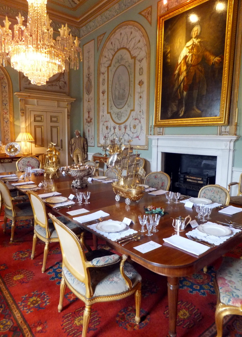 State dining room, Inverary Castle, a magnificent towered mansion, the seat of the Campbell Dukes of Argyll and located among colourful gardens in a beautiful spot by Loch Fyne near the attractive burgh of Inveraray in Arygll.