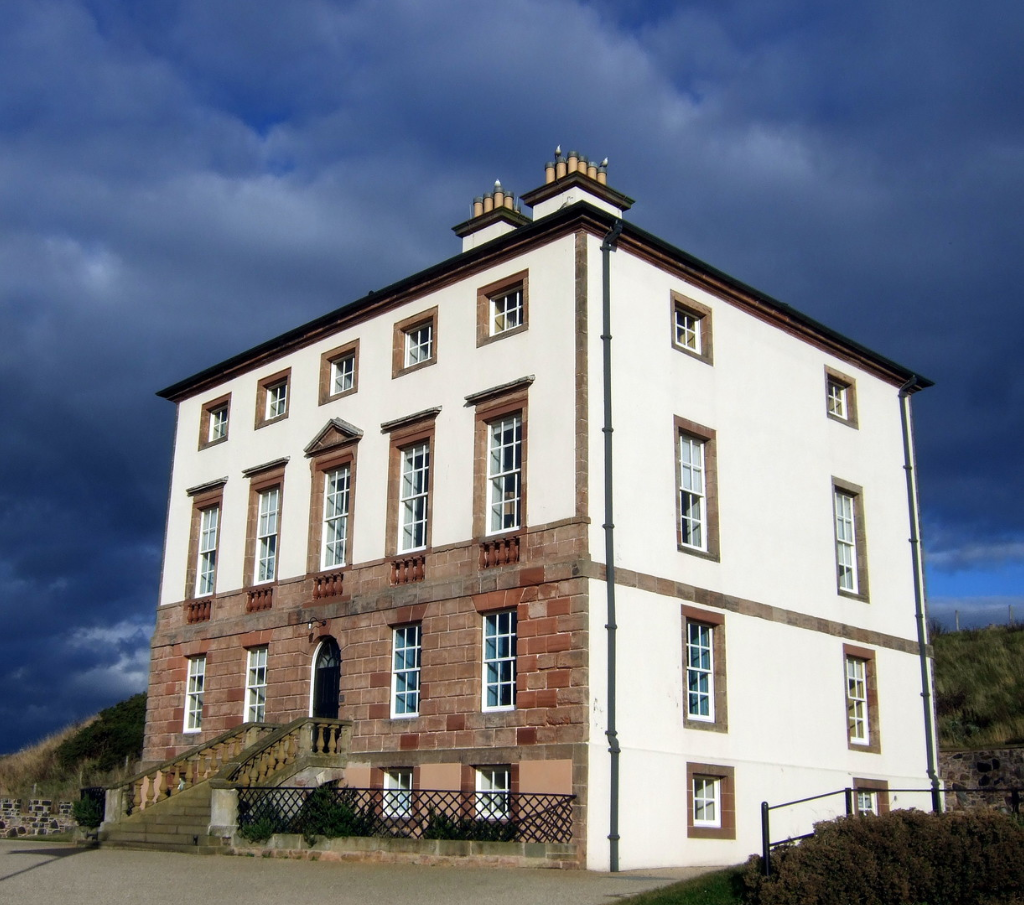 Gunsgreen House, an elegant and compact Adam mansion associated with smuggling, located by the harbour in the fishing town of Eyemouth in Berwickshire in southeast Scotland and now housing a museum.