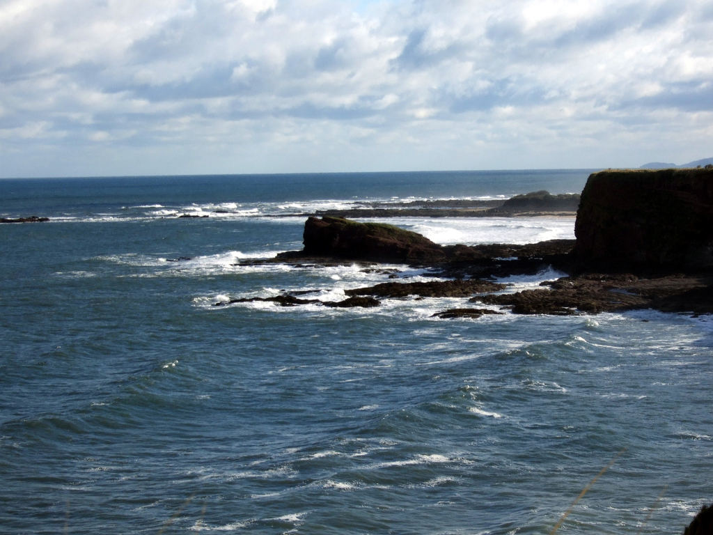 Seacliff beach from Tantallon Castle near Seacliff House is an impressive ruinous mansion near the site of Scougall, the lands being held by the Scougall family, the Auchmutys and then the Colts, in a pretty spot above the magnificent sandy beach at Seacl
