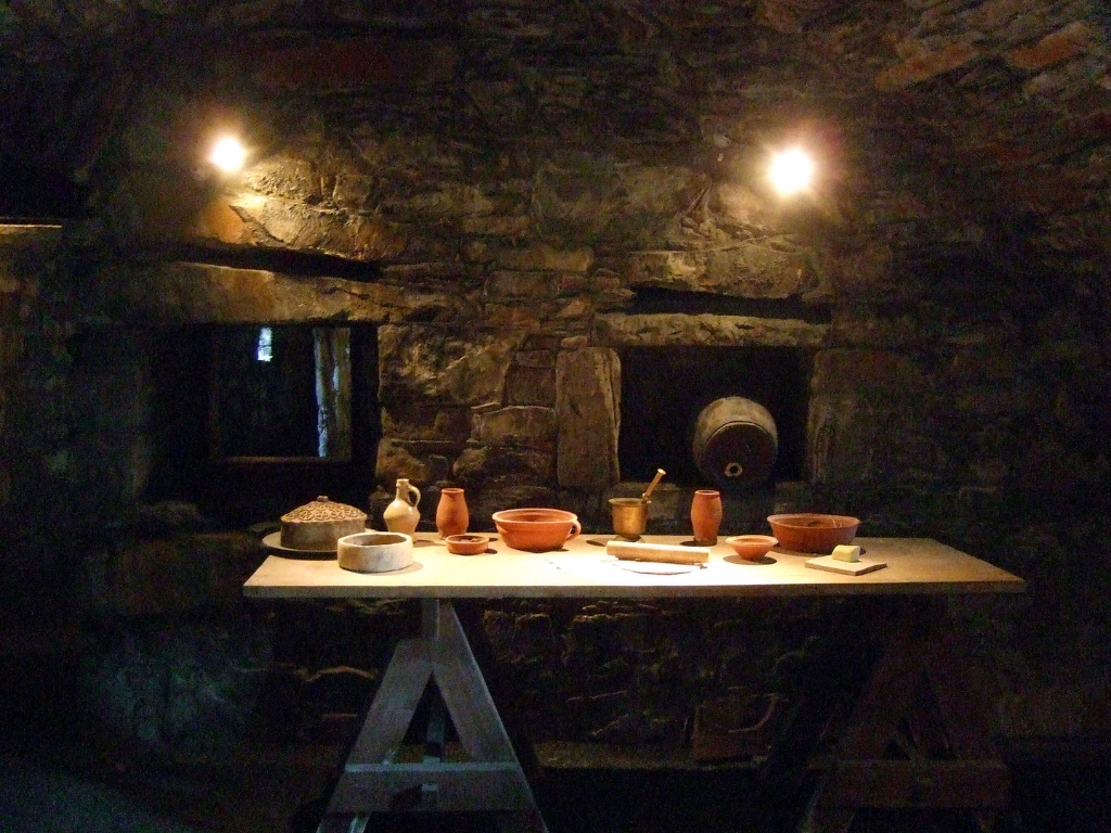 Kitchen of MacLellan's Castle, an impressive, large and once comfortable but now ruinous tower house of the MacLellan family, located in the historic burgh of Kirkcudbright in Dumfries and Galloway.