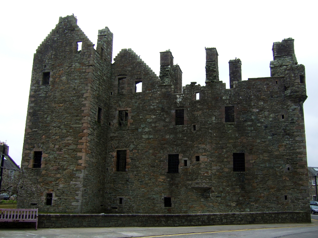 MacLellan's Castle, a large once comfortable but now ruinous residence, in Kirkcudbright